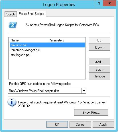 Assigning user logon and logoff scripts / Windows Server