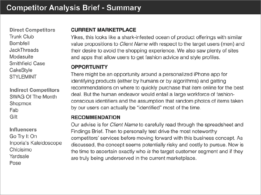 competitor analysis a brief guide Your one-stop guide to writing how to write a competitive analysis the attention of product planners and marketers the way that a competitive analysis does.